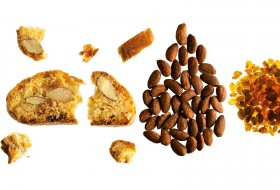 Provencal almond crunchy biscuits with dried raisins and natural orange extract